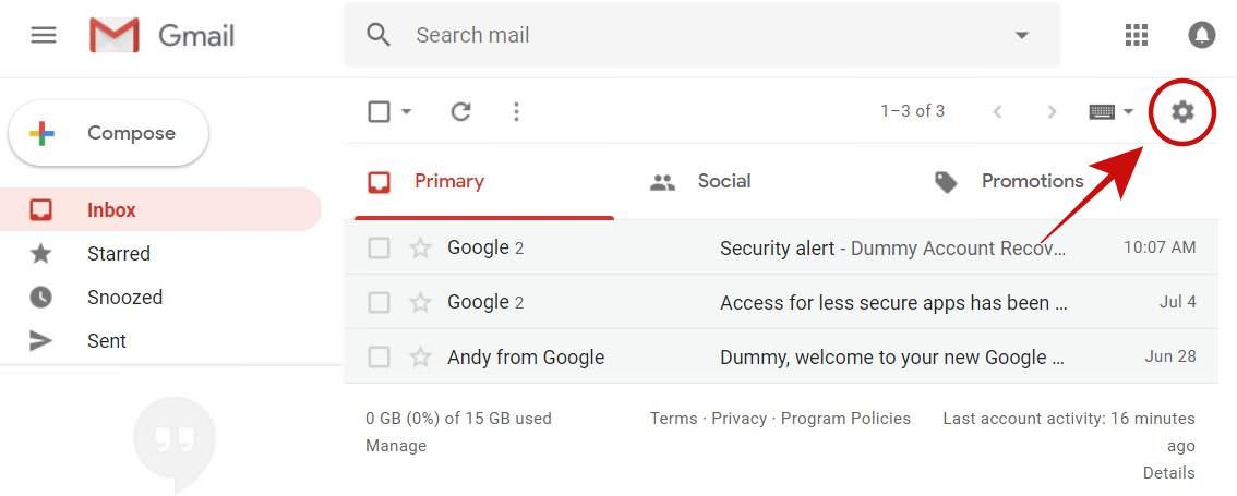 Open Settings in Gmail