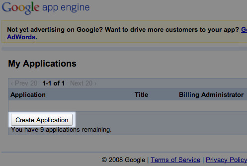 google aapp engine page
