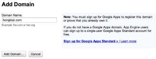 google app standard sign up