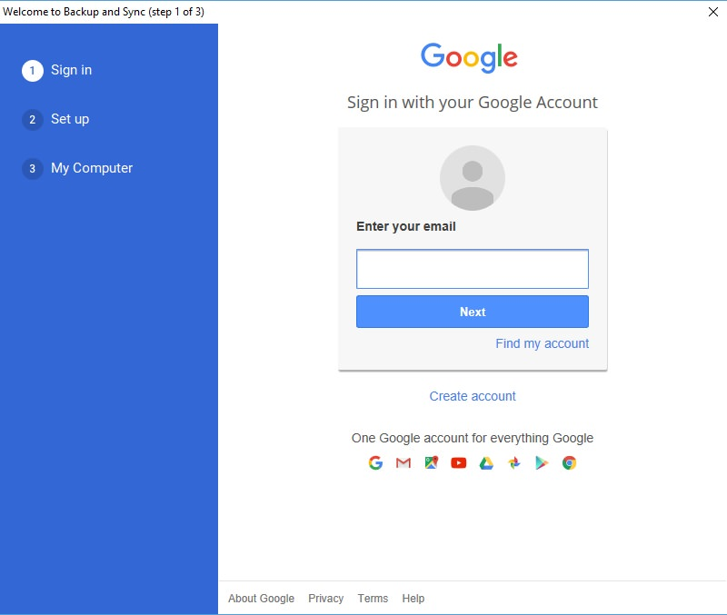 login to google account
