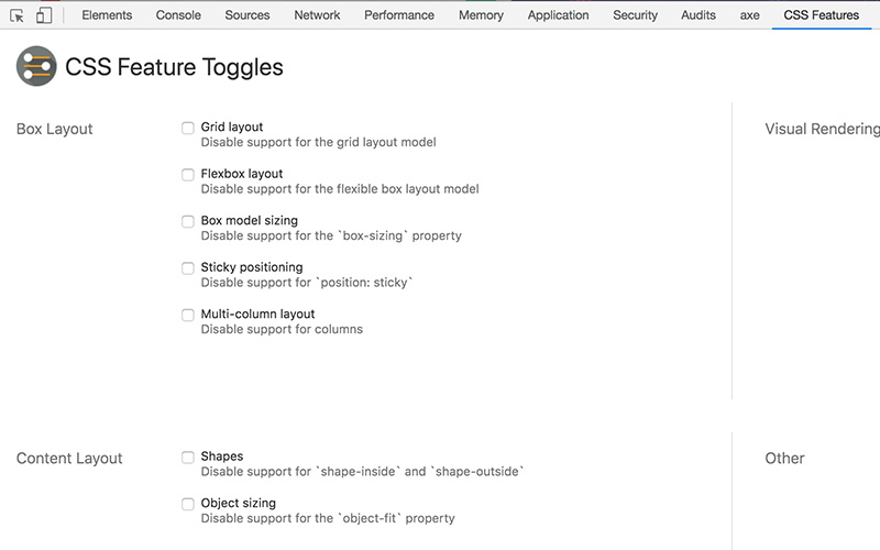 CSS Features Toggle option in Chrome DevTools