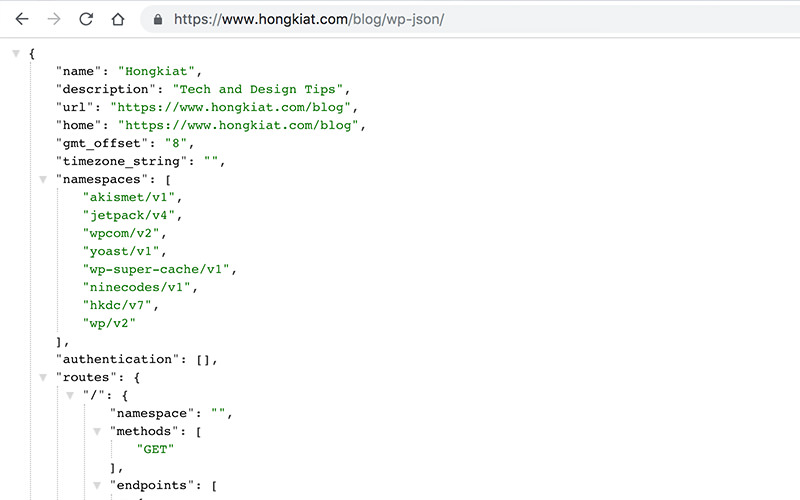 JSON data with colors in Hongkiat.com