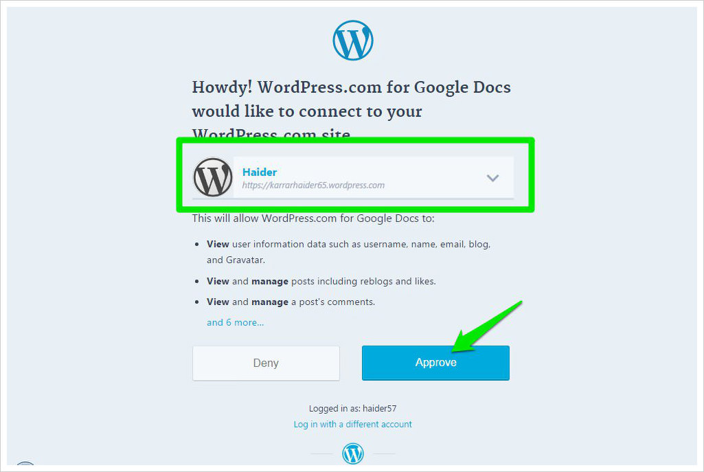 authorize wordpress