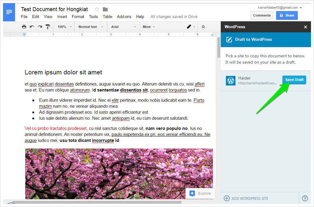 save draft to wordpress