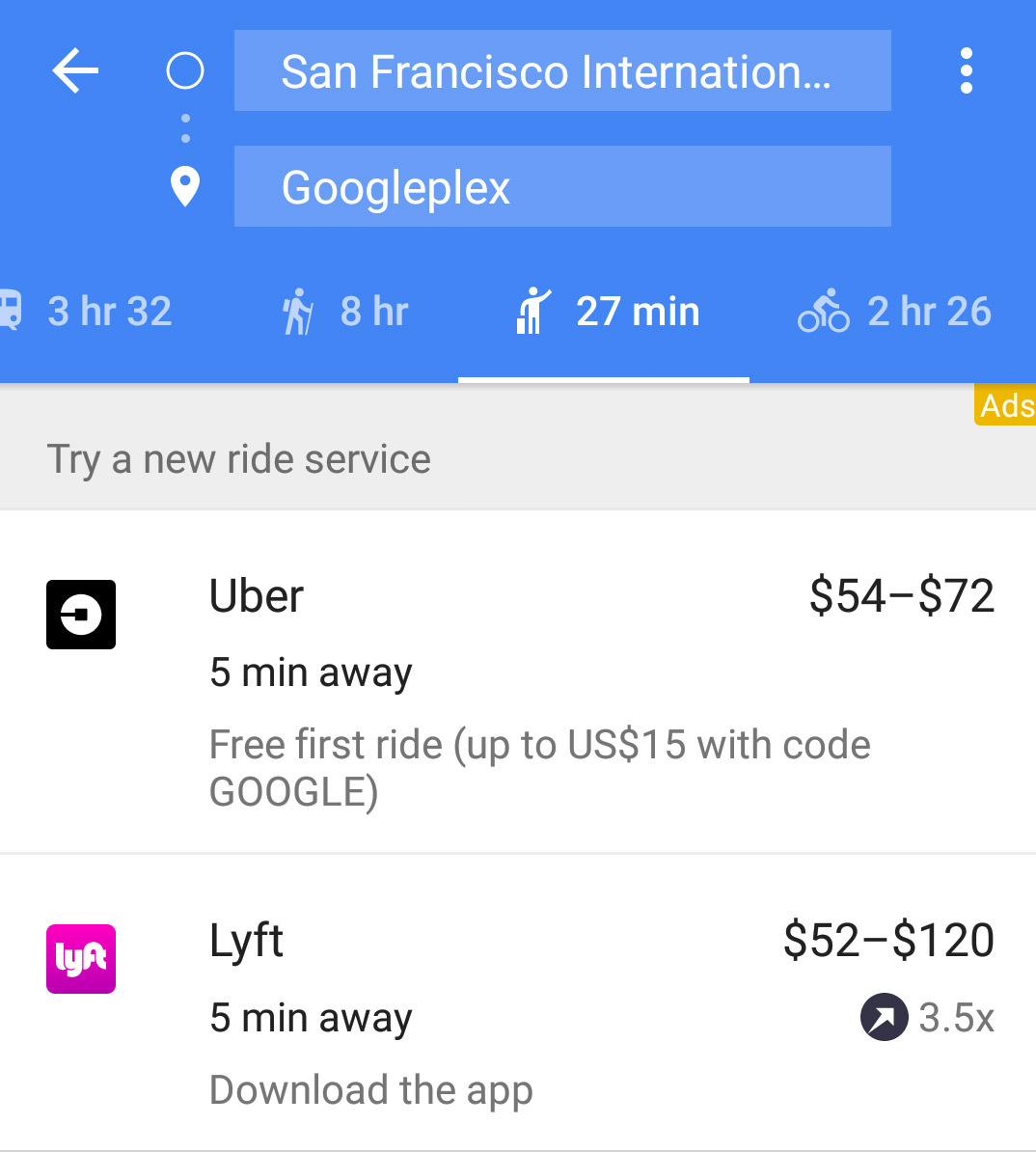 google map uber lyft