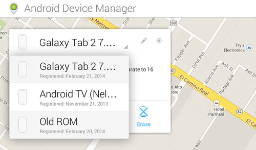 Choose Your Device In Android Device Manager