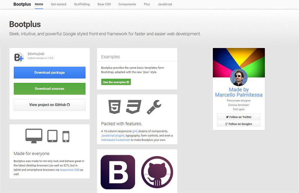 Bootplus layout homepage