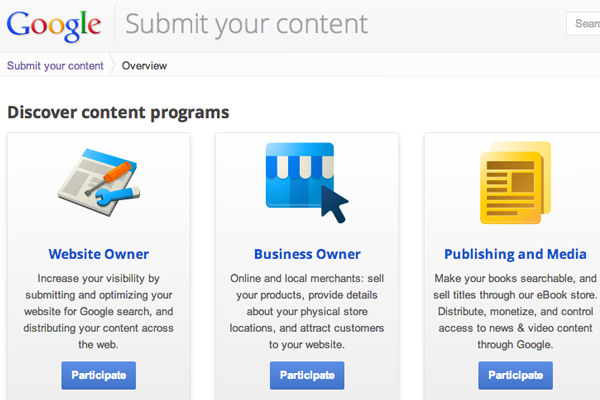 Google submit your content online webmasters business owners publishers