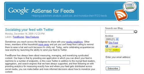 Adsense for feeds blog