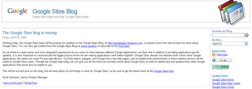 Google Sites blog
