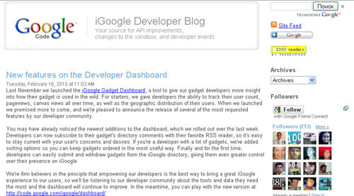 iGoogle Developer blog