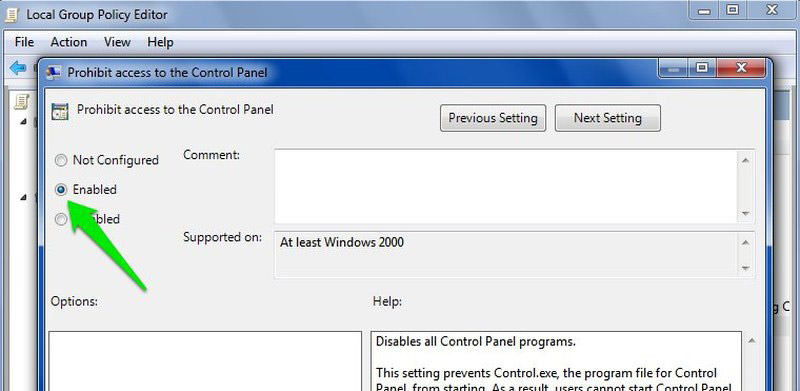 enable prohibit control panel