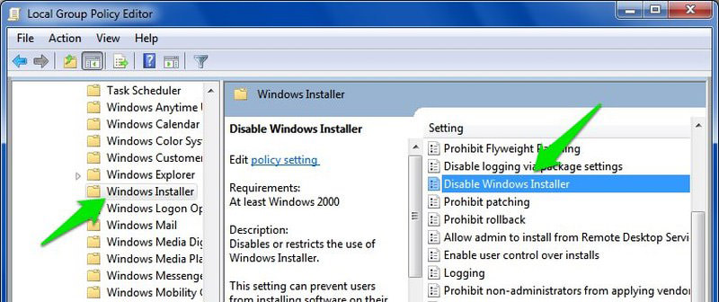 disable windows installer