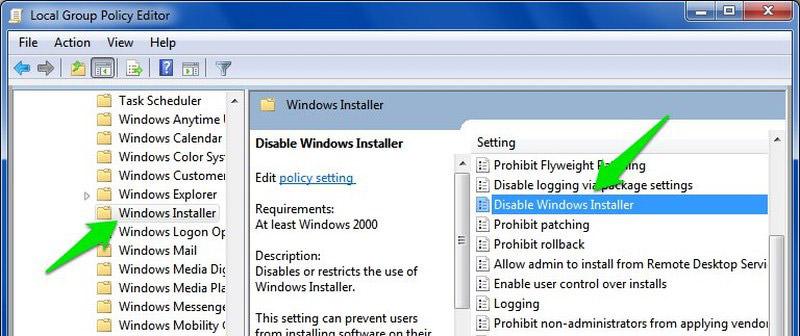 disable windows installer
