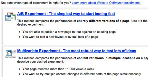 Step 1 - select A/B-Style or Multivariate Testing