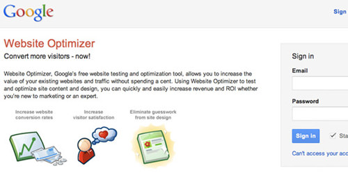 Google Web Optimizer Home screen - blank tests