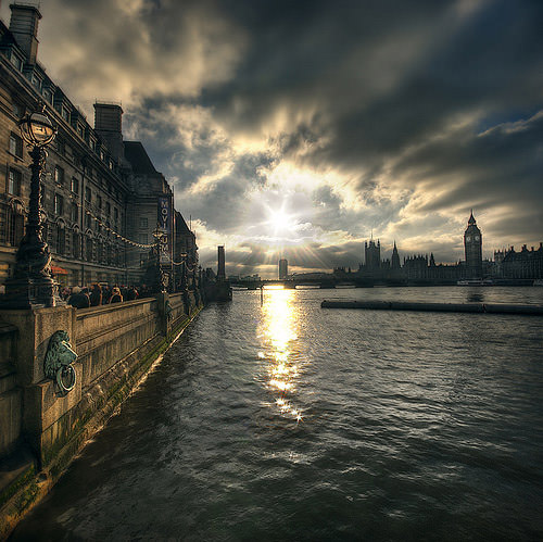Looking out over the Thames