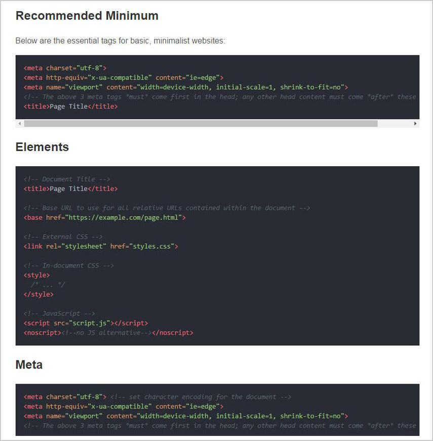 HTML head tag cheatsheet