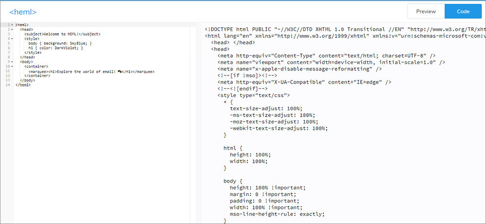 HEML email web editor
