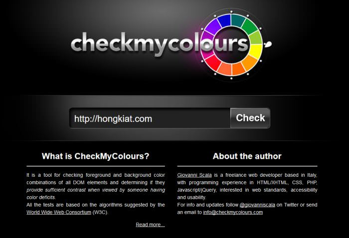 CheckMyColours Contrast Checker Tool
