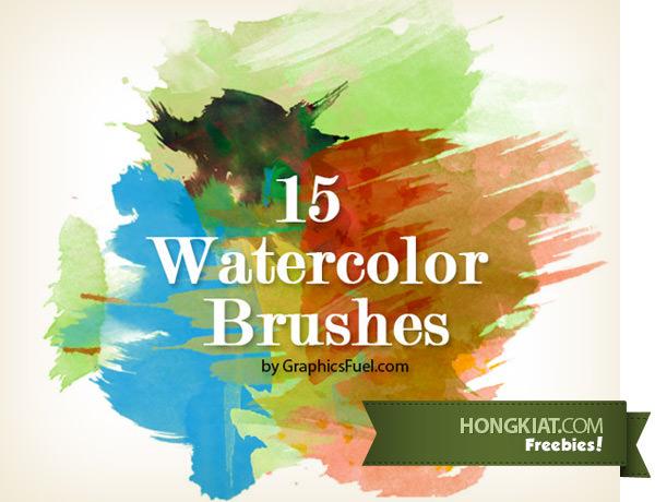 Freebie Release: 15 Photoshop Watercolor Brushes - Hongkiat