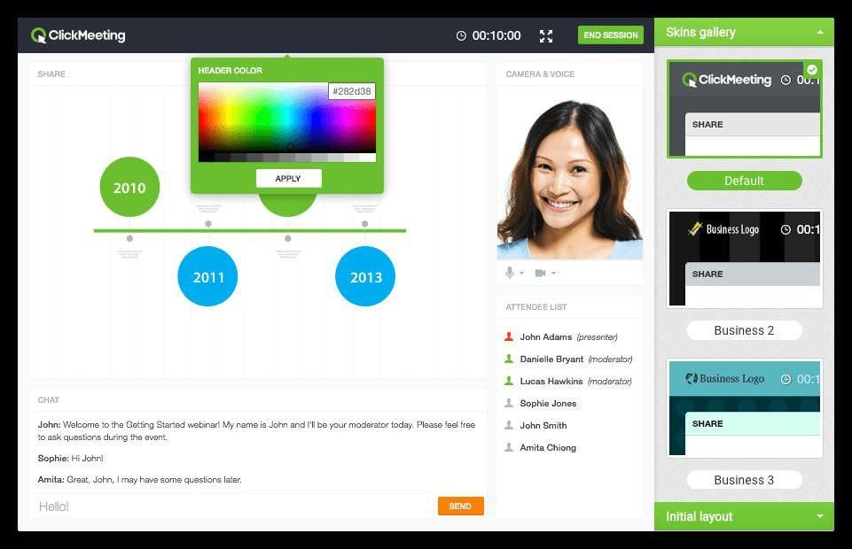 ClickMeeting's branding options