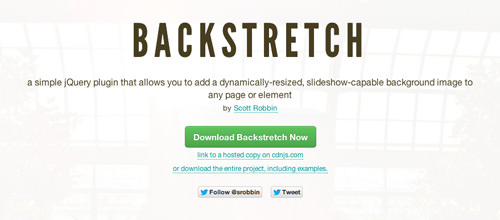 jQuery Backstretch plugin homepage screenshot