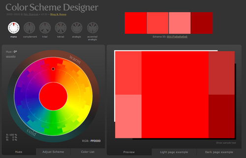 updated fresh looking color wheel scheme picker webapp