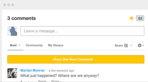 Disqus comments system homepage screenshot