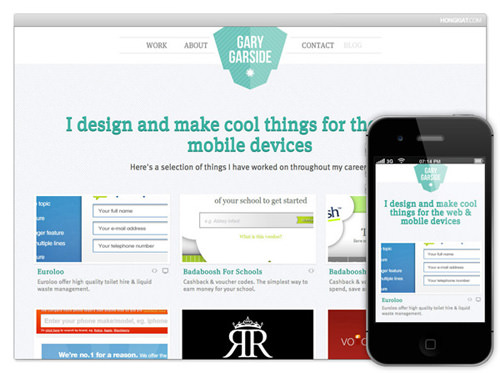 dark iPhone 4S mobile safari responsive website layout