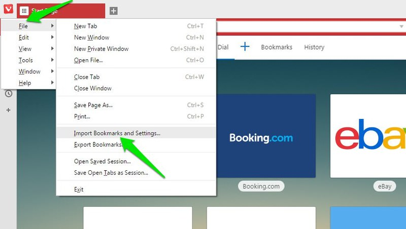 import vivaldi bookmark settings