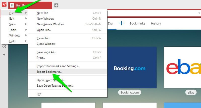 export vivaldi bookmarks