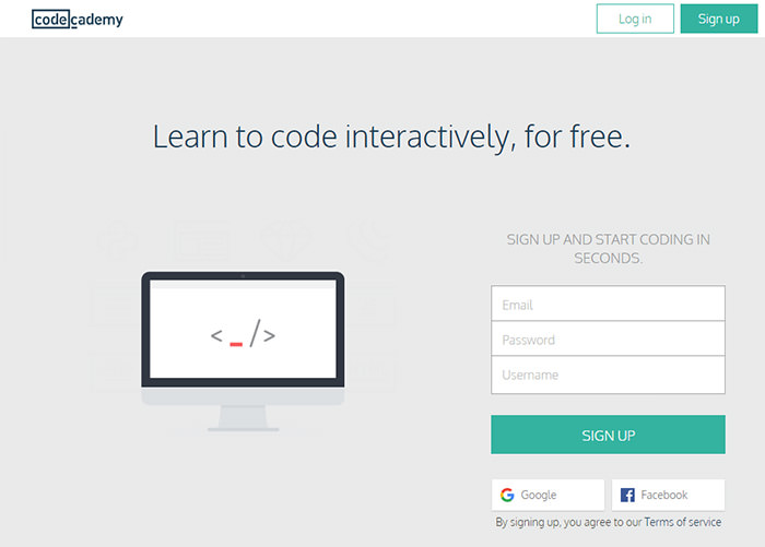 Code Academy home page layout