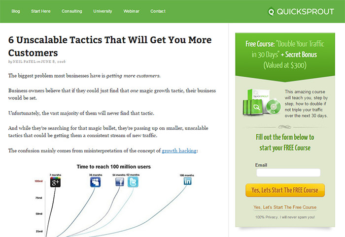 Quicksprout Blog Website