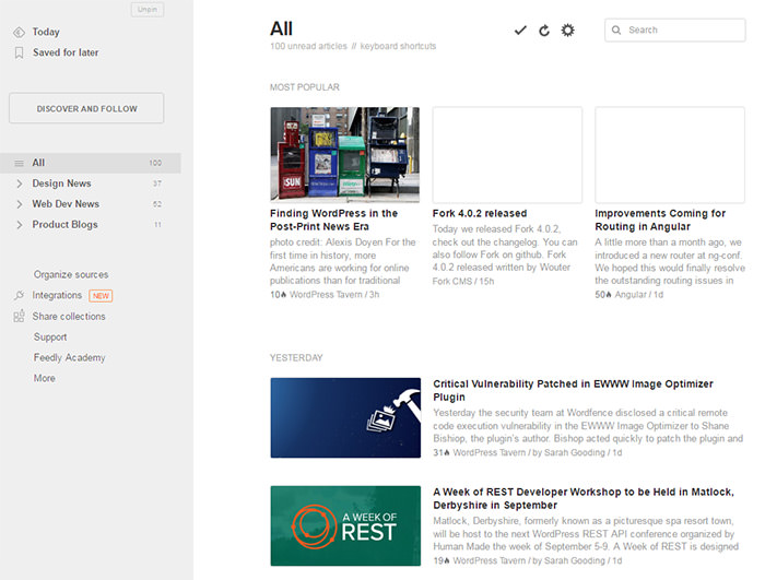 Feedly Feeds Web App Screenshot UI