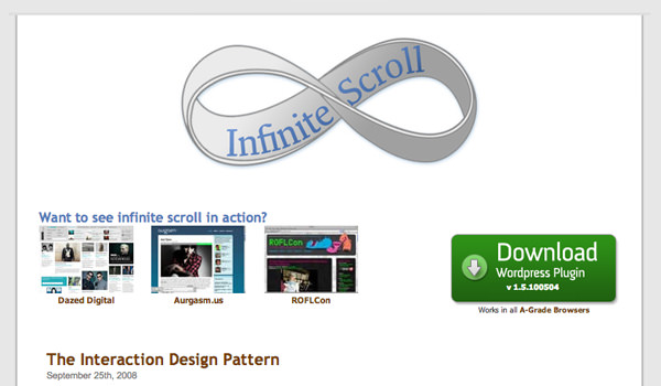 jquery plugin infinite scroll web design interface