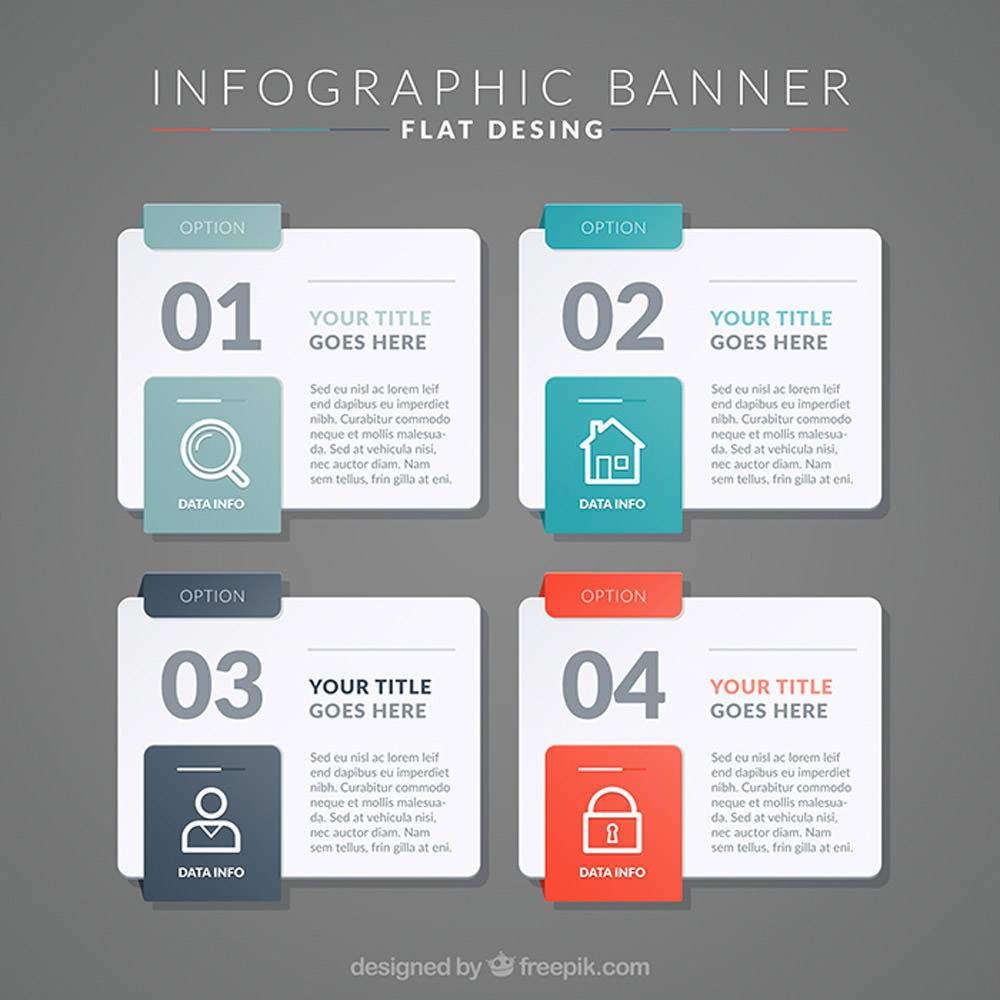 Flat Infographic Banners Set