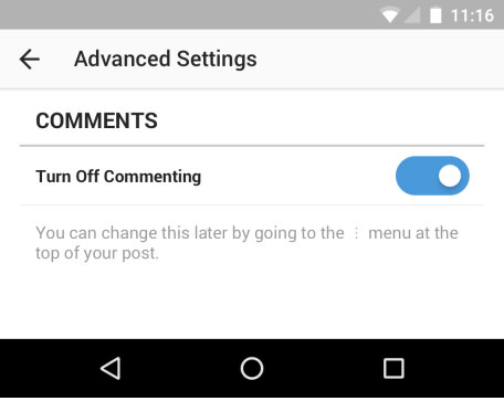 advance settings