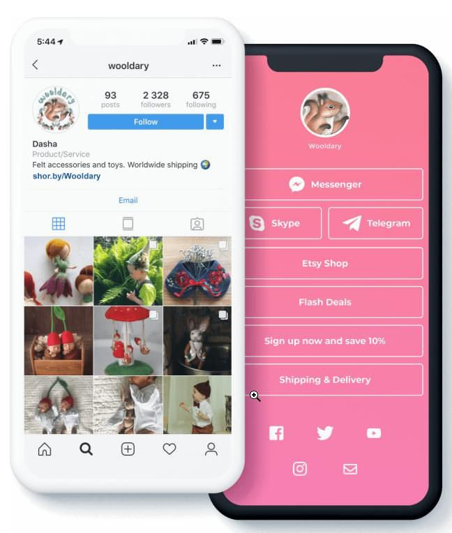 Shorby creates a bio link for Instagram
