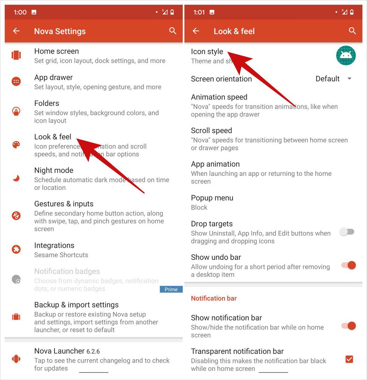 Open icon style settings in Nova Launcher