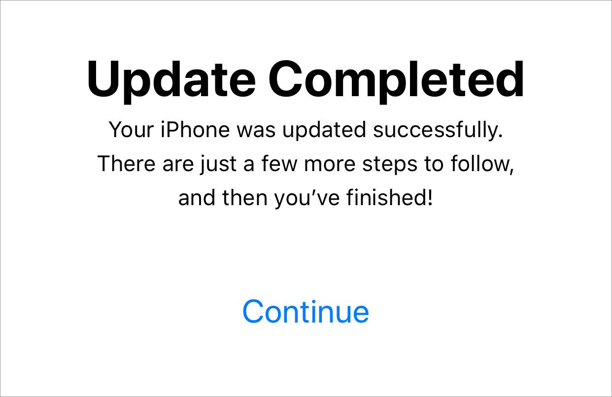 ios update complete
