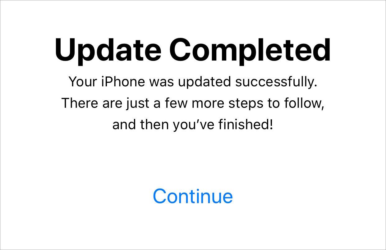 ios update complete