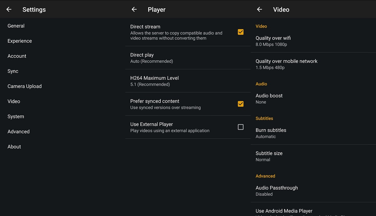 Settings in Plex for Android