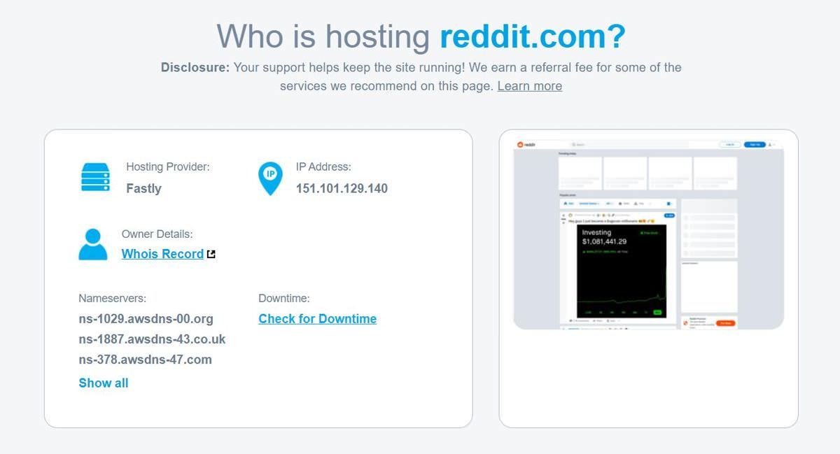 WhoIsHostingThis.com helps find hosting providers