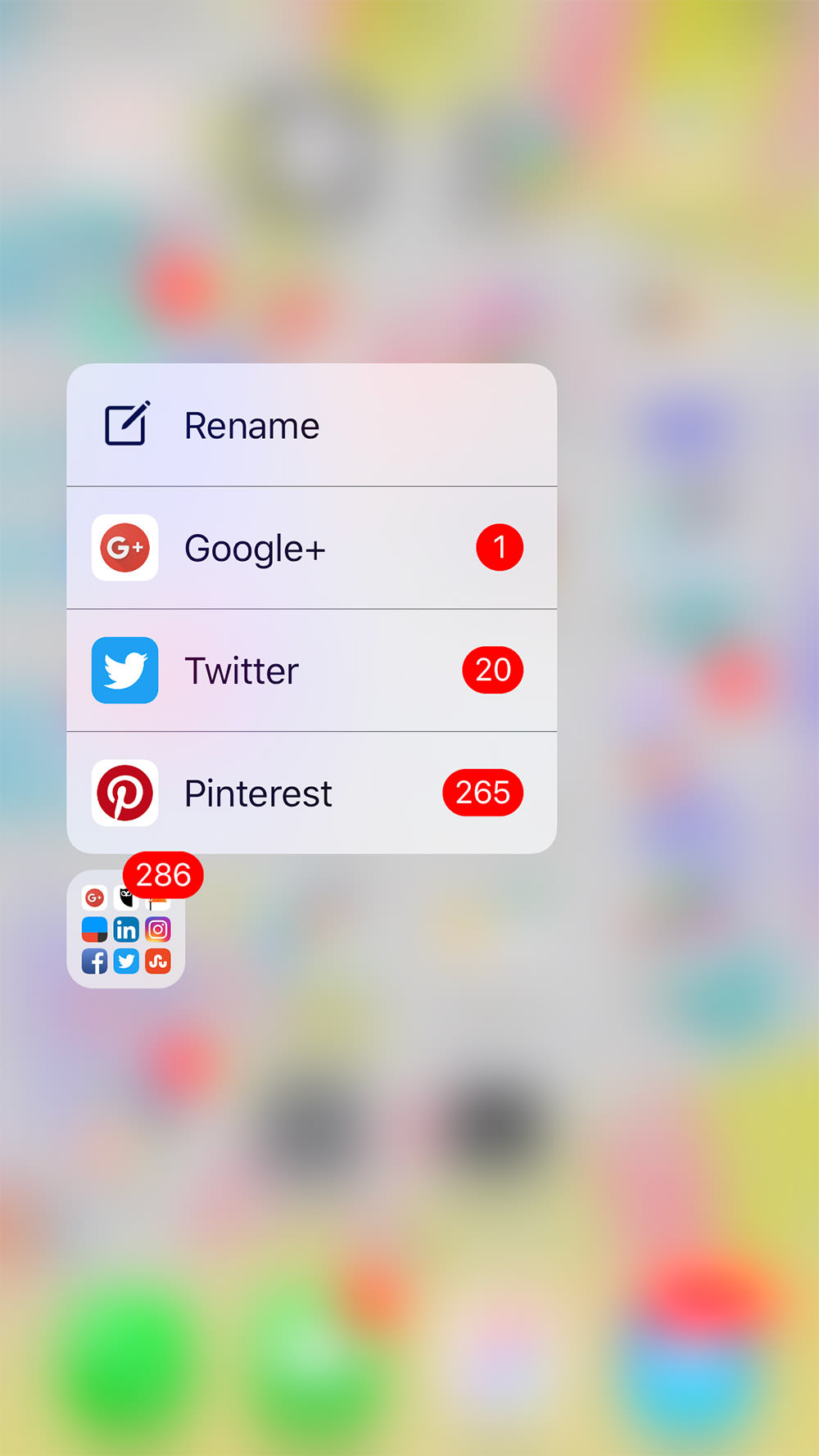 3d touch folder notifications