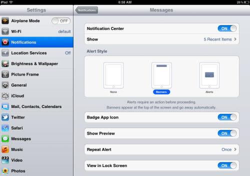 notification center customization
