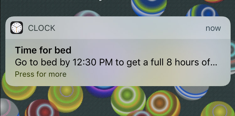 bedtime app notification