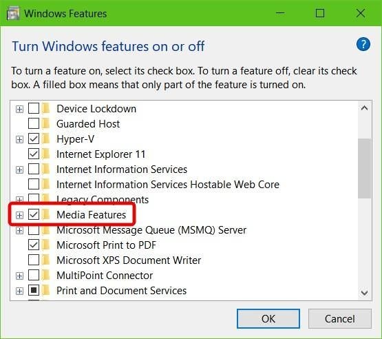 Configure Windows Features in Windows 10