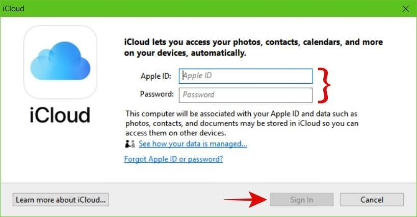 Log in to iCloud on Windows with your Apple ID