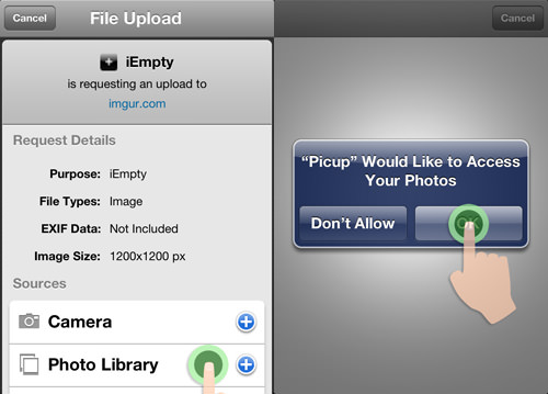 tap photo library and allow access